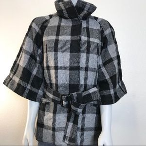 BANANA REPUBLIC Black Gray Plaid Kimono Style Coat